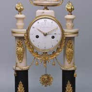 Rare 'directoire' and 'temps decimal revolutionnaire' A decorative, remarkable Directoire pendule with revolution decimal time 1-10 and normal time 1-12.