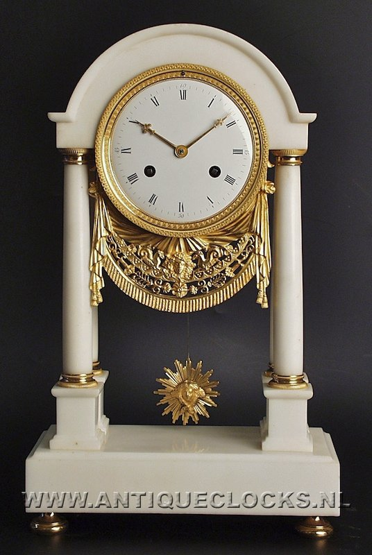 Antique French whiite marble clock. signed: ca 1800