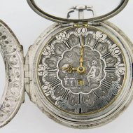 Antique dutch silver pair case verge pocket watch by Corneleis Uyterweer, Rotterdam, N 275. ca 1740