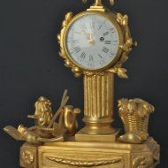 18th century gilded pendulette with 17th century oignon watch movement, signed 'Gaudron a Paris'