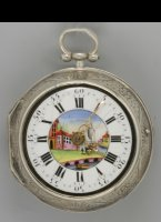 English pair cese verge repoussé verge pocket watch, signed: 'May, London', ca 1760. Diameter 50 mm