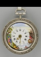 English pair case silver repoussé verge pocket watch, signed: 'Leydon, London', ca 1760. Diameter 50 mm