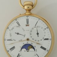 Louis Audemars, made for Charles Oudin, Palais Royal 52, Paris. A yellow open-faced full calendar pocket watch with moon-phases.