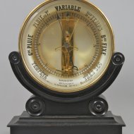 Antique french 'Bourdon' table- or wall-barometer on ebonised basement.
