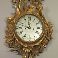 Wooden carved and gilded english wall clock.