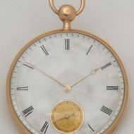 18k golden 4/4 repeating pocket watch with engineturned silver dial. 'Foulon'