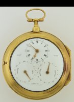 Large gilded double face watch. On one side an enamel dial with central seconds. The other side has an enamel dial with hour/minutes, moon days, adjustment and a signature of 'Benj.n Ward, London'. Diameter 80 mm, total length 106 mm, weight ca. 300 gr.