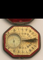 Butterfield-type brass engraved traveling sundial with compass. 65 x 58mm