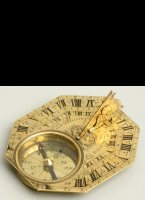 Butterfield-type brass engraved traveling sundial with compass. 74 x 65mm