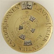 Brass, partly silvered German 18th century fully engraved Calendarium Perpetuum.