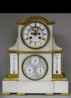 White marble mantel clock with perpetuem calendar and 2 thermometers