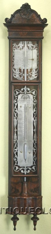 Dutch 'bakbarometer' with thermometer, signed: 'Stefan Ronkel, Amsterdam'. In louis XV style, ca. 1770 --SOLD--