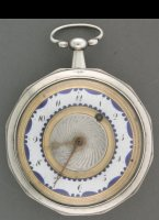 Typical case and dial, partly engineturned and enamel with blue decorations. Diameter 50 mm