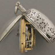 English silver paircase bell quarter repeater, signed 'Gede Rigaud'. (Gedeon Rigaud, London)
