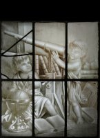 Early sepia stained glass window with allegorical astronomical putti scene.