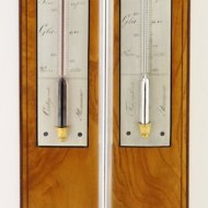 Antique french barometer, silvered brass plates, signed:'par Geret, Ing-Opticien à Macon'. ca 1820