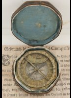 Augsburg pocket sundial in original box with antique printed manual of Ludovicus Theodoris Müller. ca 1760 (magnetic declination of ca. 18 degrees). 56 x 59 mm