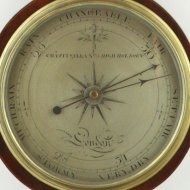 English wheel barometer.  'Chas: Pitsalla, No 79 High, Holborn'.