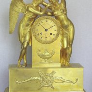 Mercury gilded mantel clock with Amor and Psyche. ca 1825