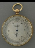 Brass case with silvered dial. Adjustable scale from 0 to 5000 Feet