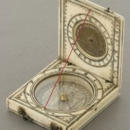 Ivory Dieppe diptych sundial, France 2nd half 17th century.