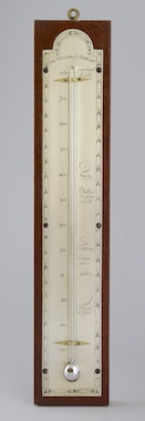 American thermometer, hand engraved silvered brass scale with Reaumur-mercury-thermometer, in french language.