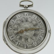 Antique silver pair cased Dutch verge pocket watch by D.F. Kehlhof, Amsterdam'.