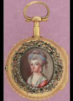 Gilded pair cased watch has a fine enamel lady-portret in silver ornament with 'rhine'-stones. Gilded movement and enamel dialplate both signed 'Bordier a Geneve'. ca 1780, diameter 36 mm.