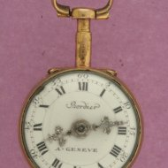 Small swiss gilded verge watch with enamel portret of a lady.