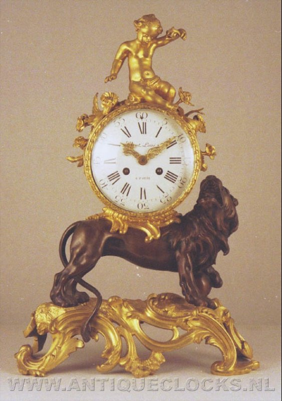 lion and cherub mantelclock, second period