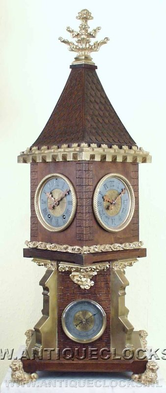 Wooden bracket clock with double dialplate and a barometer, ca 1860