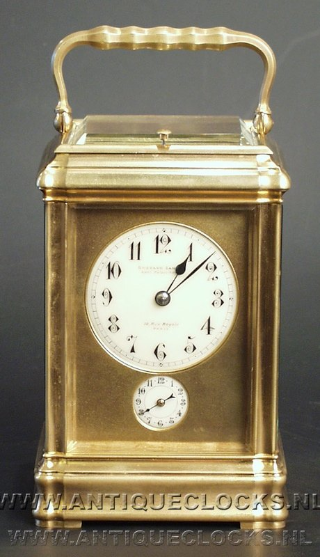 Gorge carriage clock with alarm and grand-sonnerie repetition striking on 2 gongs.